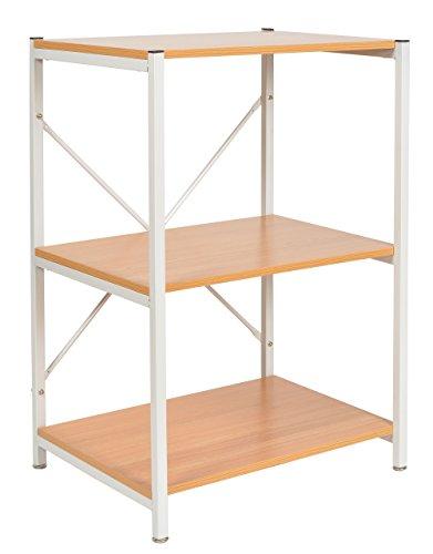 ts-ideen Standregal Hochregal MDF Eisengestell weiß Regal Holzoptik Küchen-Regal Mikrowellenhalter 84 x 58 cm