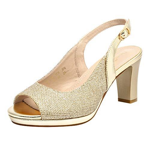 DREAM PAIRS Women' s Neina Sexy high Chunky Heels Block Platform Slingback peep Toe Dress Pumps Shoes Gold Size 9