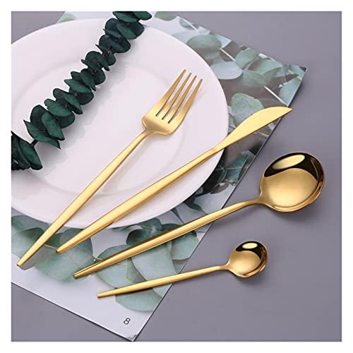 JSJJYJM Juego de cubiertos de acero inoxidable dorado Cuchillos tenedores, cucharas, cubiertos de cocina, vajilla de oro, juego de vajilla Dropshipping (color: rosa 6 juegos)