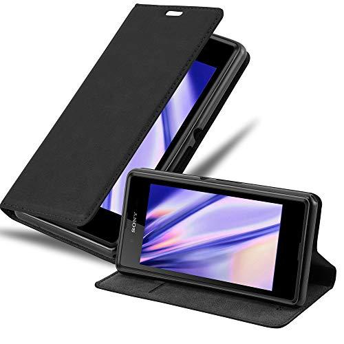 Cadorabo Hülle für Sony Xperia E3 in Nacht SCHWARZ - Handyhülle mit Magnetverschluss, Standfunktion & Kartenfach - Hülle Cover Schutzhülle Etui Tasche Book Klapp Style