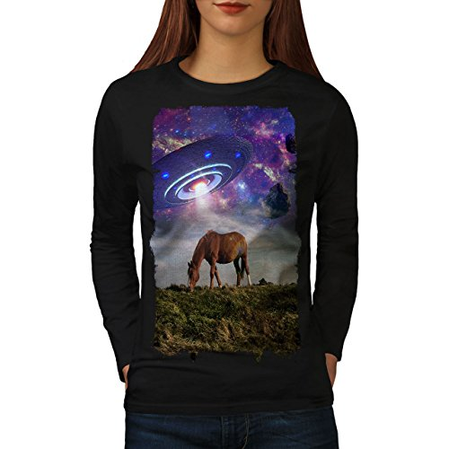 wellcoda Pferd UFO Raum Tier Frau Langarm T-Shirt Pferd Lässiges Design