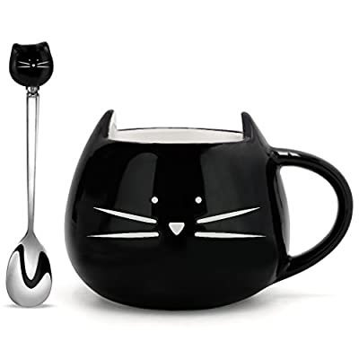 Koolkatkoo Cat Coffee Mug Ceramic Cup with Spoon Gifts for Women Girls Cat Lovers Cute Tea Mugs 12 oz Black