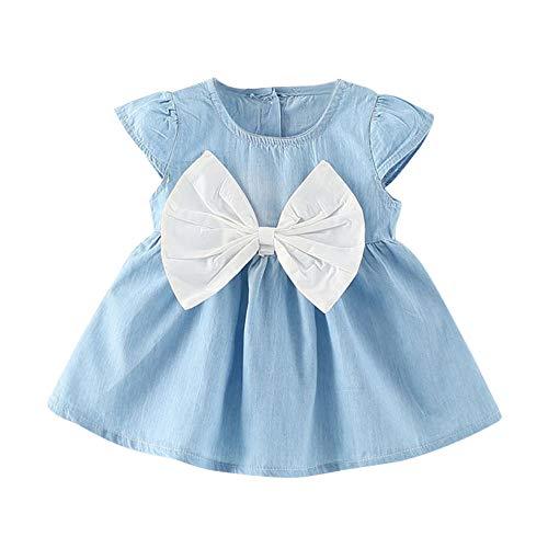 feiXIANG Ropa de los niños Infantil bebé Arco Vestido de los niños sólido Ropa de Mezclilla niñas Gran Arco de Mezclilla Falda Linda niña Ropa de bebé niña