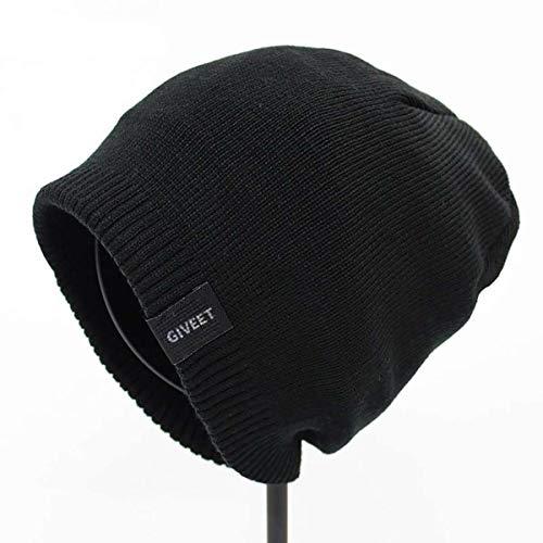 GIVEET Sombreros, Gorro de punto, gorro suave, invierno cálido, esquí de ocio, sombrero de exterior suelto, negro