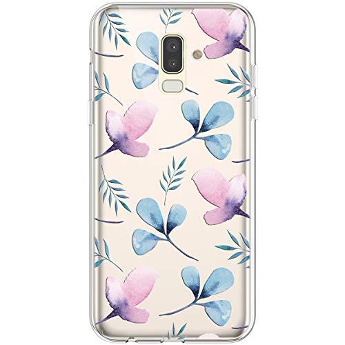 Hpory Custodia Samsung Galaxy J8 2018 - Cover Samsung J8 2018 Trasparente Case Crystal Clear Custodia Anti-Graffio Bupmer, Morbido Silicone Gel TPU Custodia Christmas Regalo di Natale, Fiori Blu -1