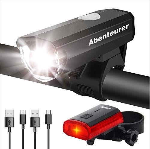 Abenteurer Fahrradlicht LED USB Set, Fahrradlampe Stvzo Zugelassen Vorne Fahrradbeleuchtung, Aufladbar Fahrradlichter Rücklicht Wiederaufladbare mit 2 Licht-Modi Fahrradlampensets