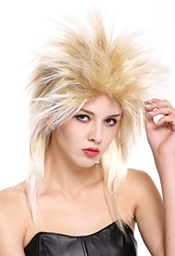 WIG ME UP - 90891-ZA89TZA88 Perücke Damen Herren Karneval 80er Wave Punk Popstar Blond Mix Toupiert