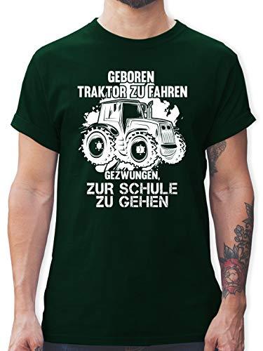 Andere Fahrzeuge - Geboren um Traktor zu Fahren - M - Dunkelgrün - Landwirt Tshirt Herren - L190 - Tshirt Herren und Männer T-Shirts