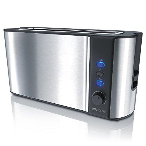 Arendo - Automatik Toaster Langschlitz - mit Defrost Funktion - warmhaltende Doppelwandkonstruktion - Automatische Brotzentrierung - Aufsatz - herausziehbare Schublade - GS-zertifiziert