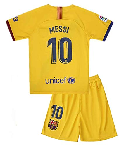 Messi Barcelona Jersey #10 Soccer T Shirt 2019-2020 Season Soccer Shirt fc Shirt for Kids (9-10Year/Size24, Messi-Away)
