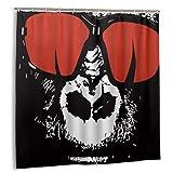 KOSALAER Tenda da Doccia,Gorilla indossando occhiali rossi carino divertente fantasia modello,tenda della doccia 180x180cm tende da doccia impermeabile Tessuto in Poliestere Lavabile,con ganci inclusi