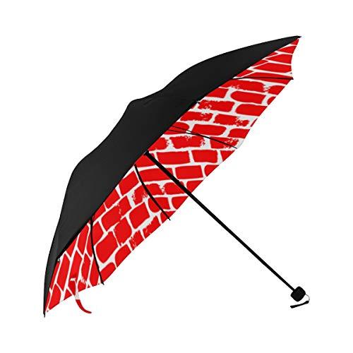 Paragüero plegable Marrón Ladrillo Pared inferior Impresión Paraguas compacto Paraguas al aire libre con protección UV para mujeres Hombres Señora Chica