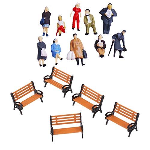 #N/A/a Dipinto Modello Treno Persone Figure Bilancia Panchina del Parco Scala Ho OO