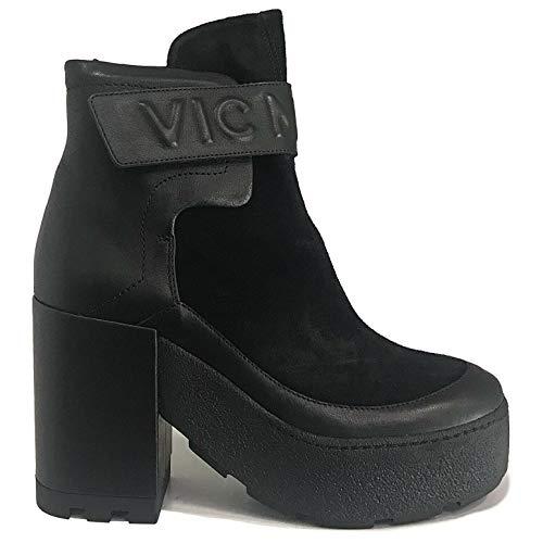 Vic Matie Stiefelette aus Wildleder mit schwarzem Mod 1R5804D Made in Italy (Tacco: 9), Schwarz - Schwarz - Größe: 39 EU