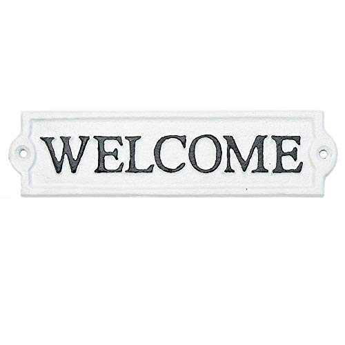 Sungmor Heavy Duty Cast Iron Outside Welcome Sign Wall Décor - White Plaque Front Door Sign - Decorative Welcome Plaque for Door, Entrance, Porch of Home, Office or Store - 1PC Pack & 8.3x2.2Inch.