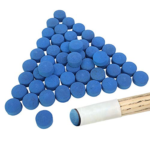 YuCool 50 puntas para taco de billar de billar, reemplazos para tacos de billar y Snooker-Blue