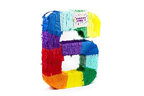 Trendario Pinata Zahl 6 - Mehrfarbig - ungefüllt - Ideal zum Befüllen mit Süßigkeiten und Geschenken - Piñata für Kindergeburtstag Spiel, Geschenkidee, Party, Hochzeit
