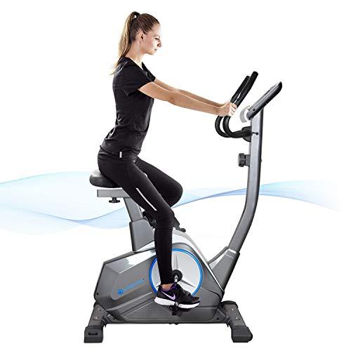 フィットネスバイク8段階負荷調節エアロバイク折りたたみ静音耐荷重120kg健康管理心拍数・体力評価測定付き