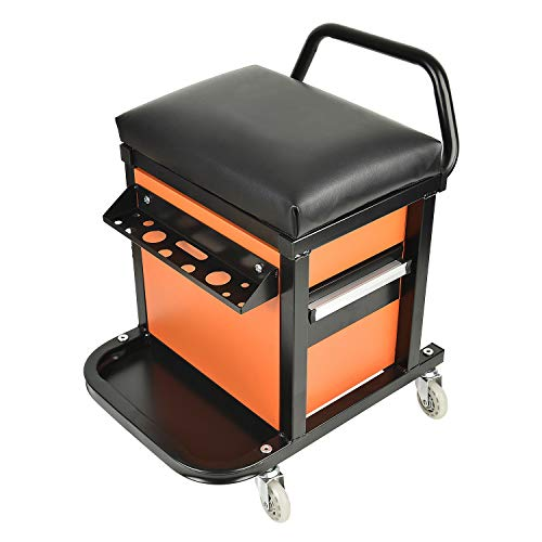 E041 Padded Creeper Seat with Onboard Storage, Rolling Tool Box Chair with Storage Rack and Drawers, Mechanics Roller Seat with Storage Drawers and 2-1/2' Swivel Casters, 300 lb. capacity
