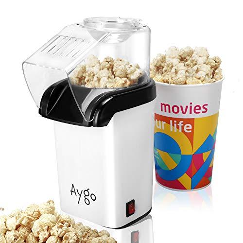 Aygo Macchina per popcorn ad aria calda per la preparazione di grani di mais senza grassi, per popcorn automatico, popcorn popper per home cinema a casa (bianco)