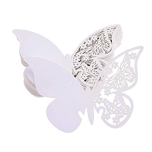 FLOWOW 100x Farfalla Decorazioni Perlato Bianco segna Posto segnaposto segnatavolo segnabicchiere bomboniera per Matrimonio Compleanno Nascita Laurea Festa Natale segna posti segnaposti