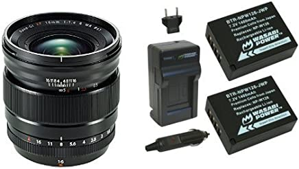 Fujifilm Fujinon Lens XF 16mm F1.4 R WR & Wasabi Power Battery (2-Pack) and Charger for Fujifilm NP-W126 and Fuji FinePix HS30EXR, HS33EXR, HS50EXR, X-A1, X-E1, X-E2, X-M1, X-Pro1, X-T1