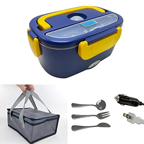 Lunch Box Chauffante Electrique,Gamelle Chauffante,Lunch Box 12V 24V 220V 3 in1,Amovible en Acier Inoxydable 1,5L,Gamelle Chauffante Electrique Portable pour Bureau et Voiture/Camion (bleu)