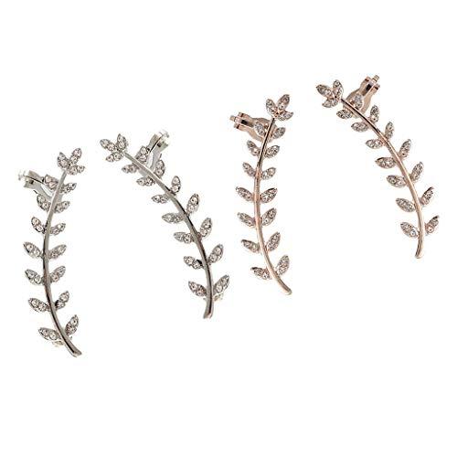 Harilla 4 Lotes Elegantes Pendientes de Brazalete de Fiesta de Escalador de Orejas de Hoja de Diamante Completo Joyería Informal