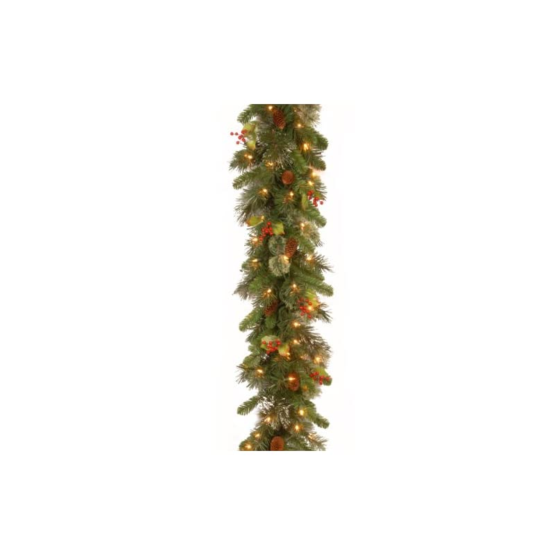 silk flower arrangements national tree company pre-lit artificial christmas garland flocked with mixed decorations and white lights wintry pine - 9 ft, 108x12x6
