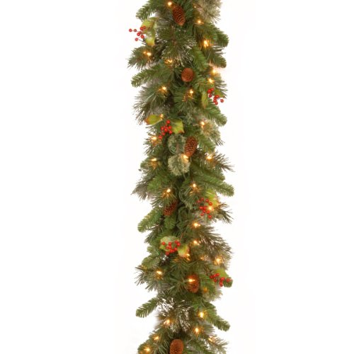 National Tree Company Pre-lit Artificial Christmas Garland Flocked with Mixed Decorations and White Lights Wintry Pine - 9 ft, 108X12X6