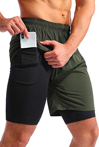 """Pudolla Men's 2 in 1 Running Shorts 7"""" Quick Dry Gym Athletic Workout Shorts for Men with Phone Pockets(Dark Green Medium)"""
