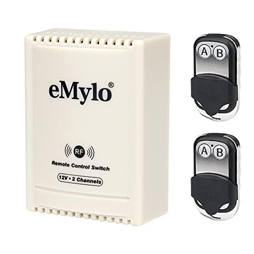 eMylo Interruptor de luz Inteligente, Luces de relé de Control Remoto RF, 12 V, 2 Canales, electrodomésticos, Bomba de Puerta de Garaje y Equipo eléctrico