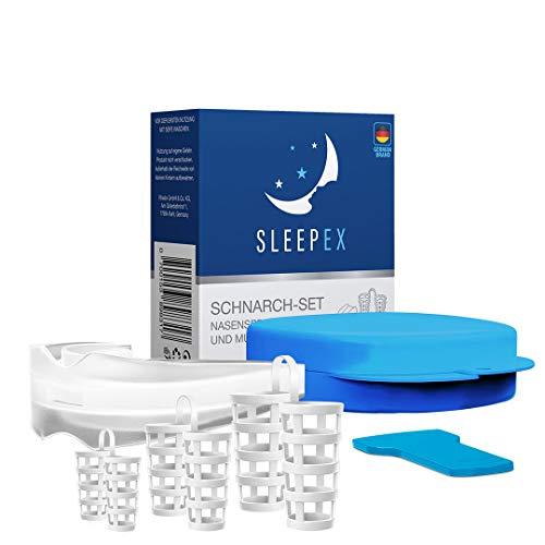 SLEEPEX Schnarchstopper Komplett Set Premium BPA frei I Verbessertes Konzept und neuartige Schnarchschiene Inklusiv Nasenspreizer gegen Schnarchen 2021 I Anti-Schnarch, 30g