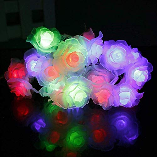 ATNEET  20 Led Rose Flower String Lights Decoration Fairy Lights Wedding Home Battery Box Powered Changable Color