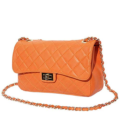 FLORENCE LEATHER MARKET Borsa arancione a spalla in pelle 27x9x16 cm - Be Exclusive Gm - Made in Italy