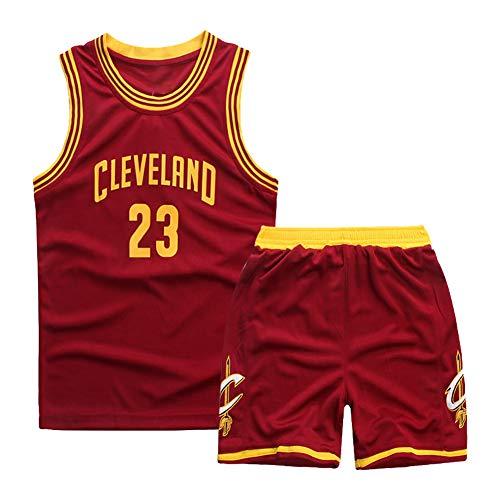 Red, Cavaliers, 23 James, Kinderbasketballuniformen, Stickbasketballuniformen, bequem, atmungsaktiv und schnell trocknend, wiederwaschbar, geeignet, Kindersportbekleidung-XL