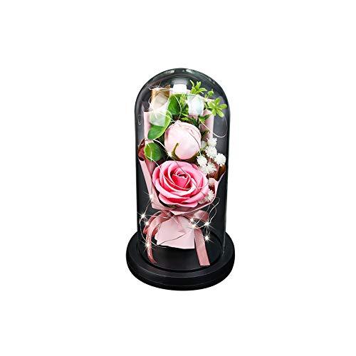 Kasachoy Rosa de belleza y la bestia, rosas nunca marginadas que duran para siempre en una cúpula de cristal con luces LED, regalos para siempre para el día de la madre, día de San Valentín
