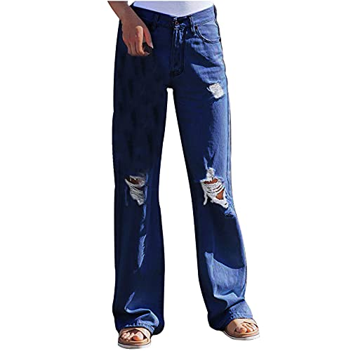 Pantalones vaqueros para mujer, rasgados, con agujeros, ajustados y de cintura alta, elegantes, de cintura alta, rectos, elásticos, con agujeros, estilo vaquero informal, marine, M
