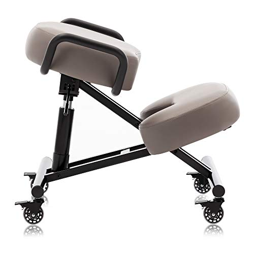 DR.LOMILOMI Ergonomic Kneeling Chair 512-AKONI, Adjustable Stool for Home and Office, Improve Your Posture, Thick Comfortable Cushions, Locking Wheels (Standard, Gray)