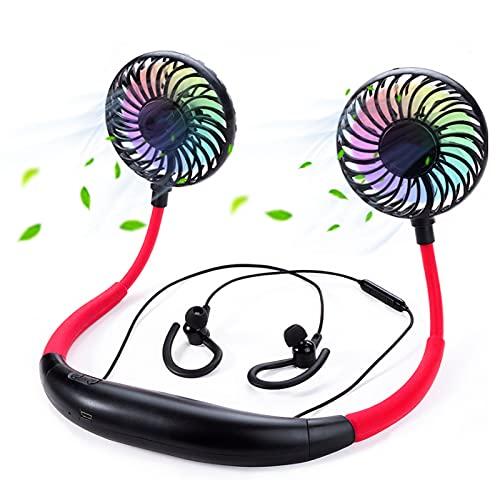 Ventilador de manos libres, USB portátil Mini banda para el cuello Ventilador portátil 360 ° Función perfumada Bluetooth Auriculares 2000 mAh con 3 velocidades para camping, oficina (color: rojo)