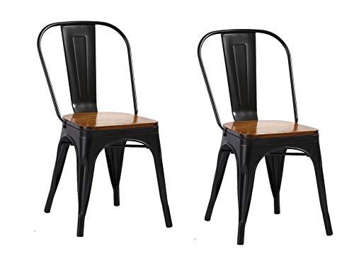 SAM 2er Set Metallstuhl Lina, Schwarz matt, Sitz aus massivem Pinienholz, Esszimmerstuhl im Industrial-Design, stapelbarer Bistrostuhl