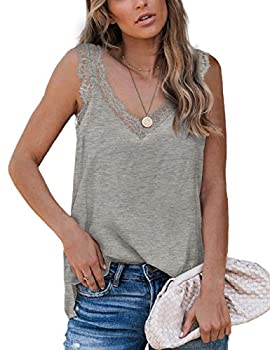 Womens Tank Tops Summer V Neck Lace Sexy Camisole for Ladies Grey S