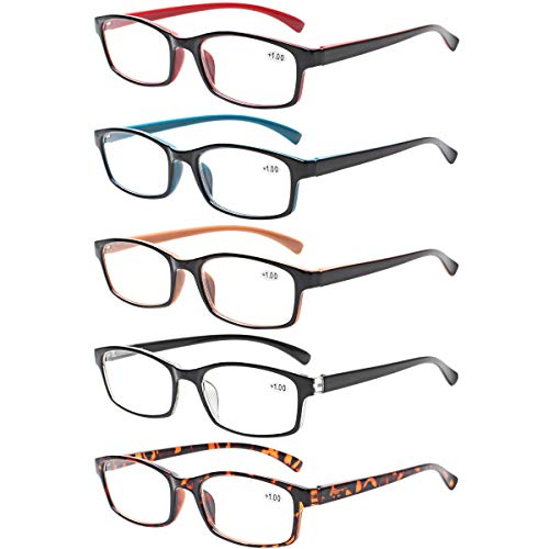 Reading Glasses 5 Pairs Quality Readers Spring Hinge Vintage Glasses for Reading for Men and Women (5 Pack Mix Color, 1.00)