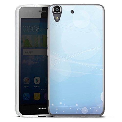 DeinDesign Silikon Hülle kompatibel mit Huawei Y6 2016 Hülle transparent Handyhülle Blau Licht Punkte