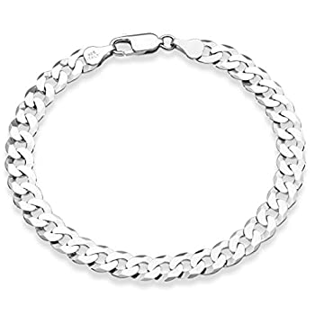 Miabella 925 Sterling Silver Italian 7mm Solid Diamond-Cut Cuban Link Curb Chain Bracelet for Men Women 7 7.5 8 8.5 9 Inch Made in Italy  7.5 Inches  6.5 -6.75  wrist size
