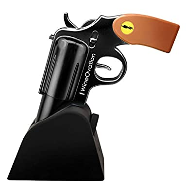 WineOvation Electric Gun Wine Opener (Black) - Open your Wine Bottle fast and without hassle - Great Gifts for Gun Enthusiasts and Wine Lovers