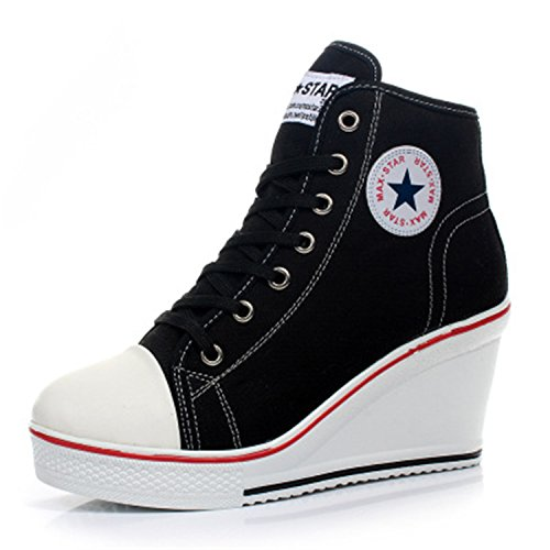 Women Wedges Badge High Top Platform Shoes Woman RED Black Casual Trainers Elevator Shoe High Heels Canvas Shoes