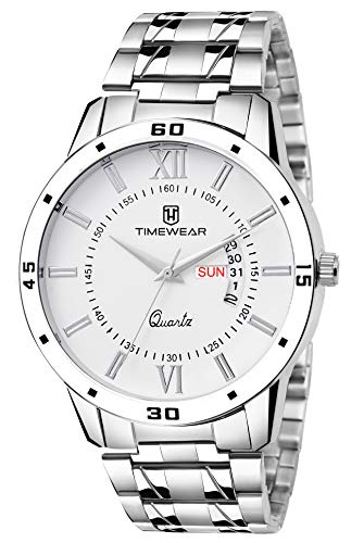 TIMEWEAR Timewear Formal Day Date Watch Collection for Men Analogue Men's Watch(White Dial & Silver Colored Strap)-221WDTG