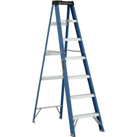 Louisville Ladder 7' Fiberglass Ladder with Pinch resistant spreader brace
