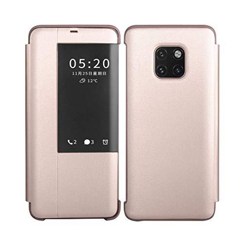 SevenPanda Automatischer Wake Up/Sleep Etui für Huawei Mate 20, Litchi Lederabdeckung Fensteransicht Intelligenter Flip Anti-Rutsch Stand Hülle für Huawei Mate 20 - Roségold